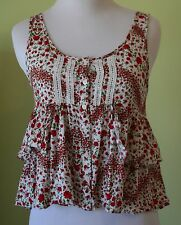 H&M DIVIDED Floral Sleeveless Top Ruffles, Crochet Detail Size 2 Women's EUC