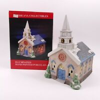 1990 National Decorations Americana Collectibles Church Hand Painted Porcelain
