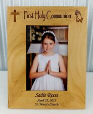 Personalized First Communion Frame, Custom Laser Engraved, 4x6 photo