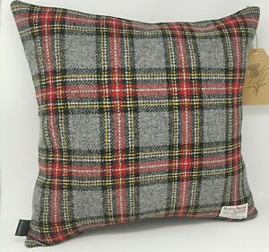 GREY Check HARRIS TWEED Cushion Cover all sizes with contrast Back Panel option