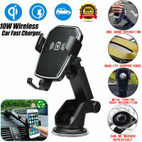 Qi Wireless Fast Charging Car Charger Mount Holder Stand 2 in 1 For Cell Phone