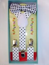 Baby Toddler Kids Child White Black Polka Dot Suspenders Bow Tie Gift Box Set