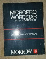 Micropro Wordstar Correct-It Manual IBM PC/XT/AT/5150/5160/5170 Morrow Book