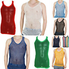 Men Cotton Sleeveless String Vest Fitted Fish Net Casual Sport Gym Tank Top