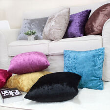 SHINY SMOOTH PLAIN THICK CRUSHED VELVET DECO CUSHION COVER THROW PILLOW CASE 17""