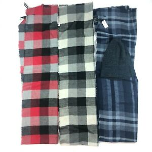 NWT Lot of 3 Express Scarf Plaid + Beanie Cap Blue Gray Black Red $119 NEW