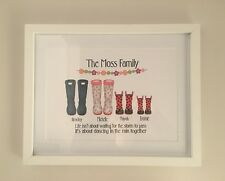 Personalised  Framed Family Welly boot print