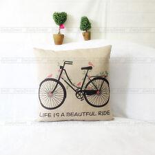 1x Vintage Composite Linen Pillow Case Bicycle Car Scatter Cushion Cover 42x42cm