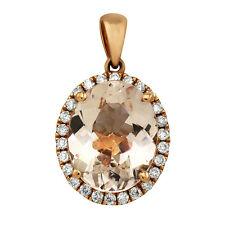 14K ROSE GOLD PALE PINK KUNZITE PAVE DIAMOND OVAL HALO PENDANT NECKLACE