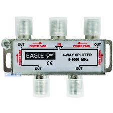 5-1000 Mhz 1 Male Coax Plug to 4 Female Socket TV Aerial Coaxial Sky Splitter