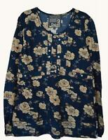 NEW EX MANTARAY UK SIZE 10 12 DARK BLUE FLORAL  PRINT JERSEY TOP
