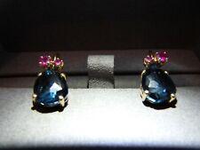 AUTH POMELLATO BAHIA EARRINGS ROSE GOLD BLUE LONDON TOPAZE PINK SAPPHIRES 6250 D