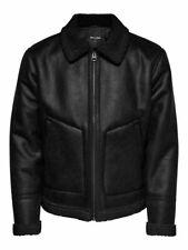ONLY & SONS - Giubbotto Jacket Uomo Casual Nero Eco Pelle Montone VINTAGE