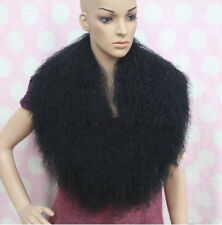 Real Farm Mongolian Lamb Fur Luxury Collar Scarf Black 100*25CM Wrap 39""
