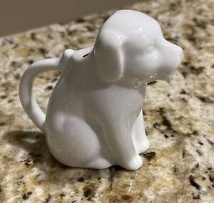 """White Mini Dog Ceramic Creamer  3"""" Tall"""