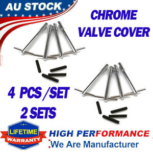 8PC CHROME VALVE ROCKER COVER HOLD DOWN WING NUT BOLTS FIT FOR FORD HOLDEN CHEVY