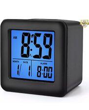 Plumeet Easy Setting Digital Travel Alarm Clocks with Snooze, Blue Nightlight, L