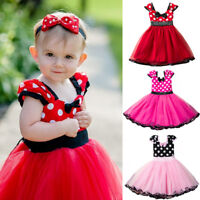Toddler Baby Kids Girls Minnie Mouse Bow Dots Tulle Dress Birthday Party Costume