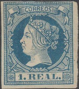ESPAÑA 1860 Edifil 55 (*) 1 real azul Spain (ref#2518)