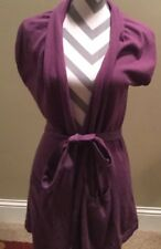 Boden Purple Cashmere Angora Blend Open Front with belt- Sweater - Us 8