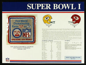 SUPER BOWL 1 ~ 1967 PACKERS / CHIEFS Willabee Ward OFFICIAL NFL SB I PATCH CARD