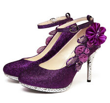 Glitter Sequins Strappy Lady High Heels Women Flowers Dress Wedding Bridal Shoes