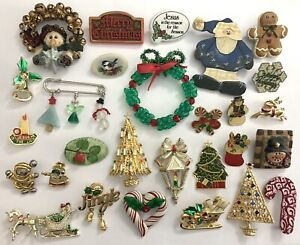 Vintage Brooch Pin Lot~Christmas Holiday Themed~26 pc LOT Tree Snowman Santa