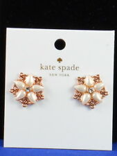 Kate Spade Rose Gold Plated CHANTILLY CHARM Openwork Faux Pearl Stud Earrings