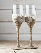 Wedding Glasses, Rustic Toasting Flutes, Wine Champagne Flutes