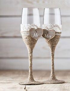 Wedding Glasses, Rustic Toasting Flutes, Wine Champagne Flutes