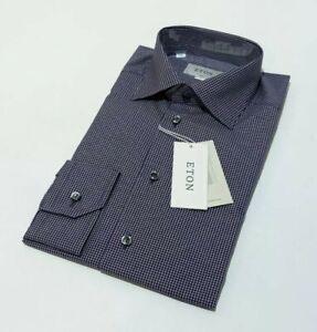 BNWT Eton Mens Slim Shirt Purple White Gingham Check Brighton 15.5 39cm RRP £135