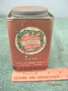 Hercules Powder Co Unique Rifle Smokeless 13 oz Can Container