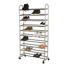 All Set 149 x 77 x 32cm 10 Tier Shoe Rack with Wheels