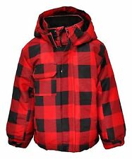 New Red Black Check Lined School Coat Jacket Winter Tartan Age 2 3 4 5 6 7