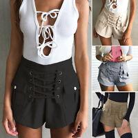 Fashion Women Vintage High Waist Summer Casual Shorts Short Hot Pants Trousers W