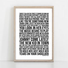 More details for eagles new kid in town song lyrics poster print wall art