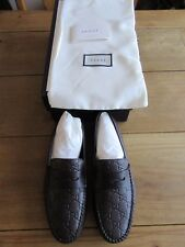 BRAND NEW Gucci Men's Brown Leather GG Guccissima Drivers Loafers Shoes 10.5 US