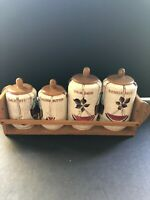 Vtg ROYAL SEALY 4 Hand Painted Condiment Jars With Wooden Tray JAMAICAN Japan