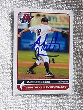 Tampa Bay Rays Matt Matthew Spann Signed 2012 Hudson Valley Renegades Card Auto