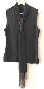 $295 Monika Chiang Shawl Scarf Blouse Sleeveless Top Silk Black Beaded S NEW