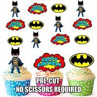 PRE-CUT Superhero Batman Happy Birthday Edible Cupcake Toppers Party Decorations