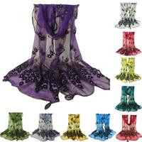 Women Silk Scarf  Peacock Flower Embroidered Lace Scarf Long Soft Wrap Shawl AU