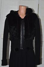 JENNYFER J. Beautiful Black RABBIT FUR Hooded SWEATER JACKET Size Large