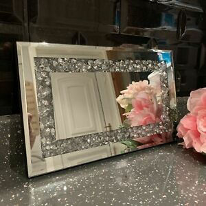 28x17cm CRUSHED JEWEL PLATE DIAMANTE MIRROR CANDLE PLATE MIRRORED TRAY PLATE