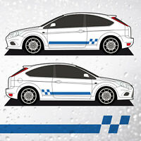 Focus Mk2 Smooth Check Side Stripes - Decals Vinyl Graphics 3dr and 5dr