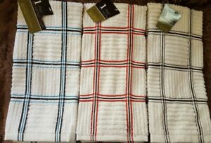 Cotton Blend TERRY KITCHEN DISH TOWEL Very Nice *Choose Red Black and Blue Plaid