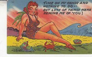 Sexist Comic Postcard Sexy Lady cartoon - Busty Lady on Beach