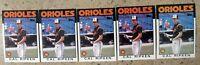 Cal Ripken 1986 Topps #340 Baltimore Orioles 5ct Card Lot