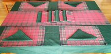 Holiday Table Linen Set 18 PC Mix Match Christmas Napkin Runner Green Red Plaid
