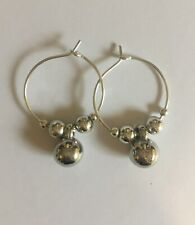 Handmade silver plated 20mm hoop earing's with silver coloured beads
